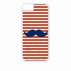 Navy Glitter Mustache on Red Nautical Stripes - Case for the Apple Iphone 6 Plus Only-Hard White Plastic Outer Shell