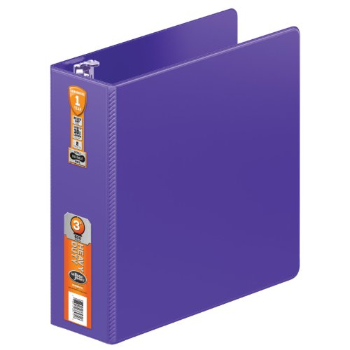 - Wilson Jones Heavy Duty Round Ring Binder with Extra Durable Hinge, 3-Inch, Purple (W364-49-267)
