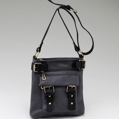 Designer Inspired Two-tone Belted Messenger Handbag w/ Compartments Galore Grey/Black, Bags Central