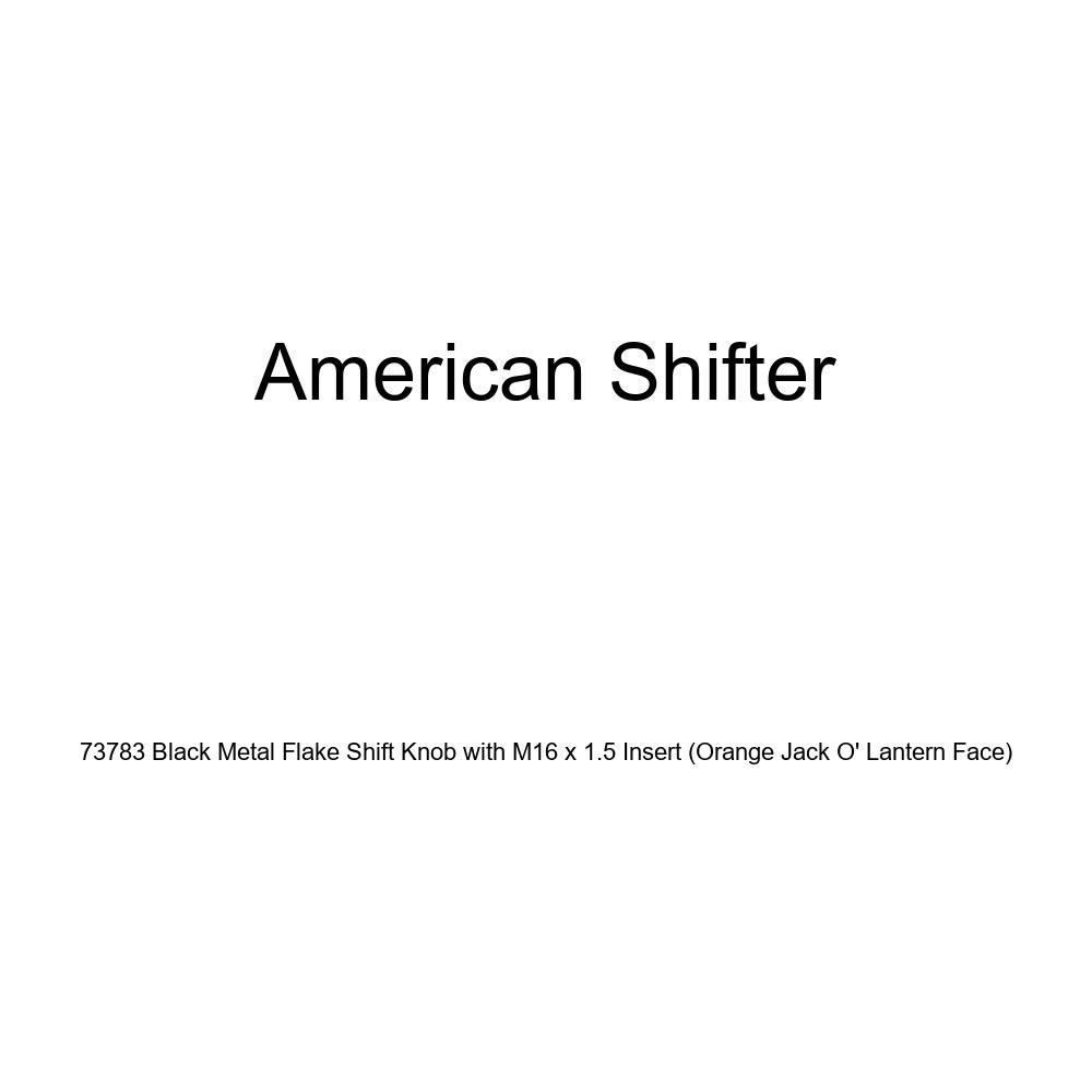 American Shifter 73783 Black Metal Flake Shift Knob with M16 x 1.5 Insert Orange Jack O Lantern Face