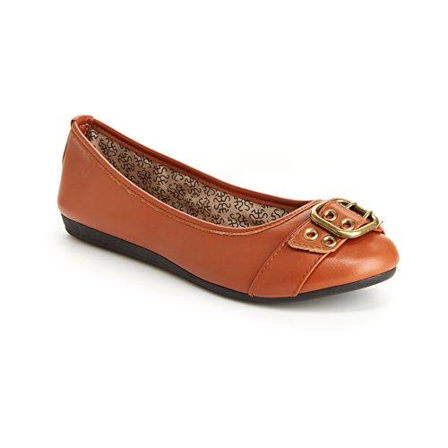Harborsides Audrey Women Comfort Flats - Memory Foam Insole, Flex A Lite Outsole Cognac ()