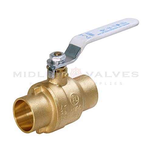 Midline Valve 832C223-NL Premium Full Port Ball Valve, Brass, 1 in. SWT x 1 in. SWT
