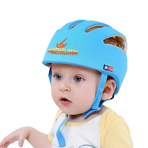 E Support Infant Baby Adjustable Safety Helmet Headguard Protective Harnesses Hat Blue - Baby Safety Helmet