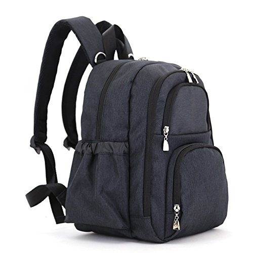 Bolsa de la momia, bolso de hombro, de gran capacidad de múltiples funciones bolso de la madre de la moda, bolsa de la madre y el bebé, salir a producir mochila ( Color : Gris ) Negro
