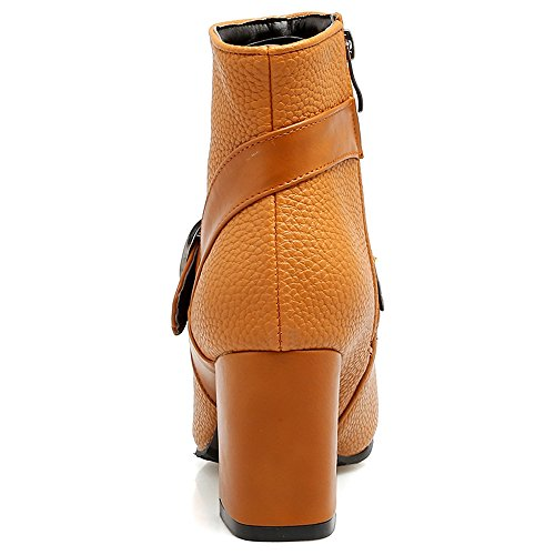 With Buckle Heel Elegant Ankle Zipper Boots Block COOLCEPT Yellow Women Fq0wT0x8H