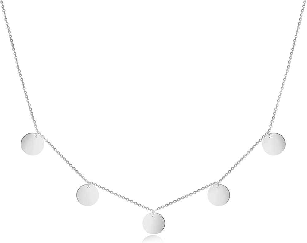 Good.Designs ® 5 Coin Collar para Mujer (40+5cm) Collar de Acero Inoxidable con Cinco Redondas Disco