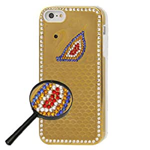 Swarovski diseño Blue Diamond Swan Pattern Diamond Encrusted Plastic Protective Cover Case Funda para iPhone 5 5S & (Golden)
