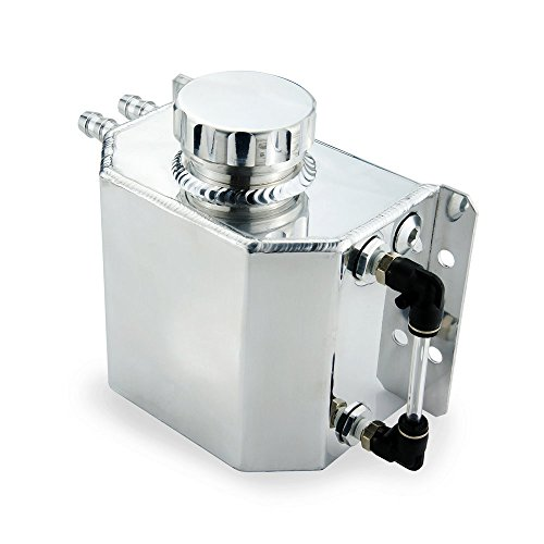 Heinmo Universal 1L Aluminum Auto Radiator Coolant Expansion Alloy Tank with Drain Plug 1000ml(Silver)