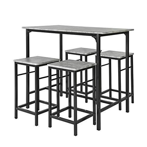 SoBuy Set Mesa Alta de Bar y 4 Taburetes OGT11-HG,ES (4 sillas)