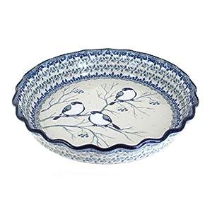 Blue Rose Polish Pottery Bluebird Pie Plate