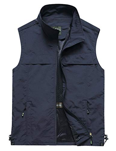 Yimoon Men's Outdoor Lightweight Fishing Safari Travel Zip Vest (02 Navy, Medium)