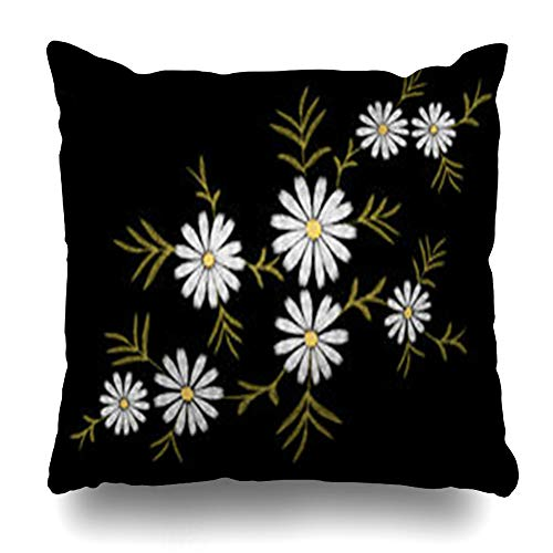 iDecorDesign Throw Pillow Covers Ornate Pattern Flower Daisy Gerbera Herb Patch White Delicate Thread Vintage Wild Neckline Botanical Briar Home Decor Pillow Case Square Size 16 x 16 Inches Pillowcase ()