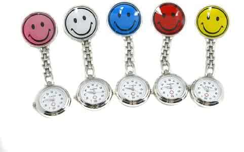 Nurse Pocket Watch with Clip, Smile Face Design, Pack of 5 Colors