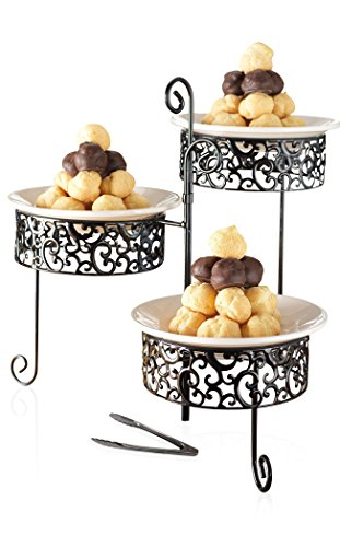 Elegant 3 Tier Serving Tray - Ceramic and Pressed Metal Tiered Cake Stand - Party Centerpiece for Cupcake, Dessert, Fruit, and Appetizers, with Serving Tong - Tiered Metal