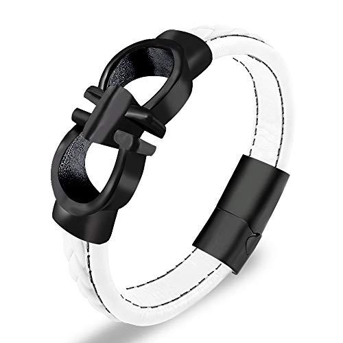 Ferragamo Inspired Gancini Bracelet (White/Black Stainless Steel)