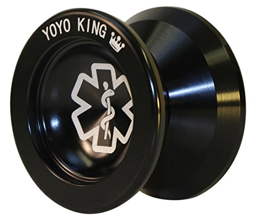 Yoyo King Black Dr. Smalls 3/4 Sized Metal Yoyo with Narrow Responsive and Wide Nonresponsive C Bearing and Extra Yoyo String