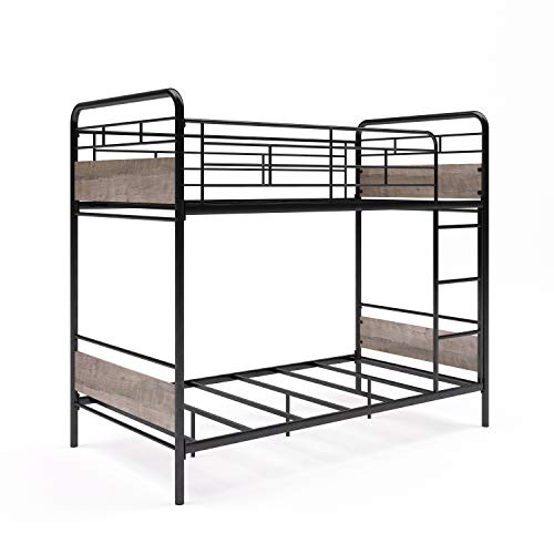 (Better Homes & Gardens Anniston Twin Over Twin Bunk Bed, Metal Frame and Rustic Gray Accents)