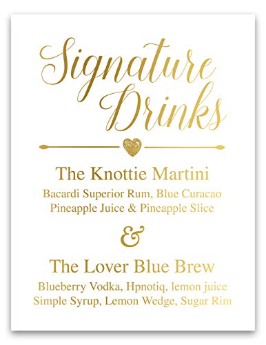 Signature Drinks Sign Gold Foil Wedding Signs Signature Cocktails Sign Bar Menu Sign Wedding Decor