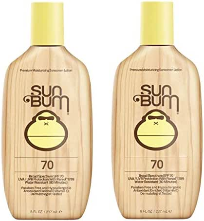 Sun Bum Original Moisturizing Sunscreen Lotion, Broad Spectrum UVA/UVB Protection, Hypoallergenic, Paraben Free, Gluten Free, 8 oz, 2 Count
