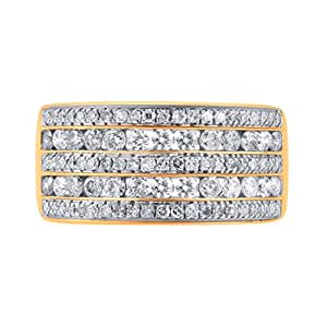 TJD 10K Yellow Gold Multi Row Diamond Ring 1.00 Carat (H-I Color, I2-I3 Clarity), US Size 7 1/4