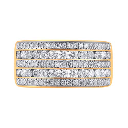 1.00 Carat Natural Diamond Ring 10K Yellow Gold (H-I Color, I2-I3 Clarity) Multi-Row Diamond Ring for Women Diamond Jewelry Gifts for Women, US Size 5