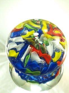 M Design Art Blown Glass Rainbow Millefiori Paperweight PP-0163 Kitchen