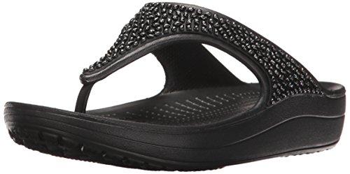 crocs Women's Sloane Embellished Flip Flop, Black/Black, 8 M US