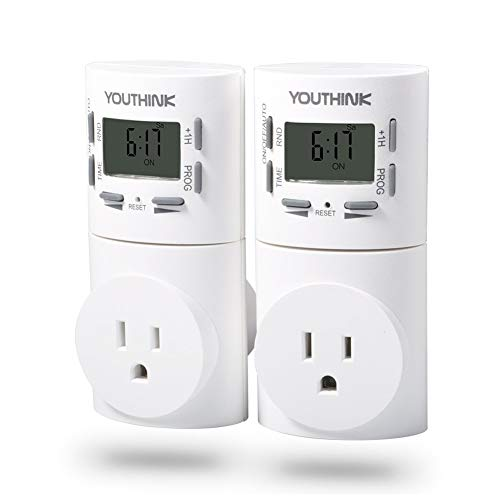 Timer Switch Outlet, 7-Day Digital Programmable Smart Wall Socket Plug-In Timer Switch Energy-Saving Outlet For Plants, Gardening and Electric Appliances (2 Pack)