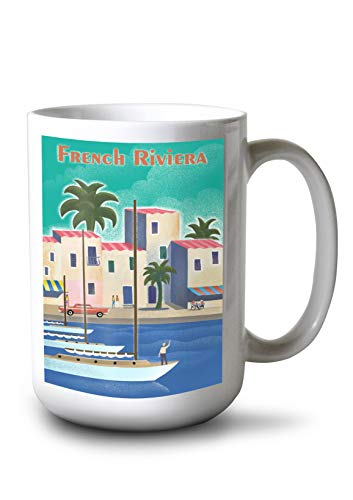 Lantern Press French Riviera - Lithograph (15oz White Ceramic Mug)