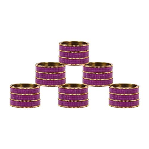 Aheli Glass Beaded Set of 6 Round Shaped Napkin Rings Holder Buckles for Dining Table Home Kitchen Accessories