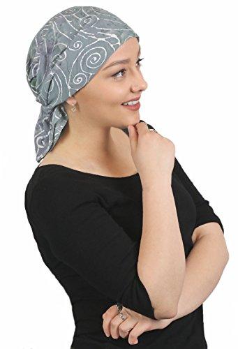 "Chemo Scarves for Women Head Scarf Cancer Headwear Head Wrap Batik from Bali 27"" Square (Gray Swirl)"