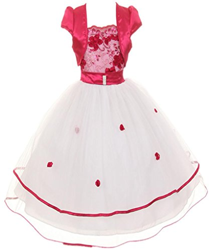AkiDress Beautiful Laced Top Two-Tiered Tulle with Bolero with Floral Accent Fuchsia -