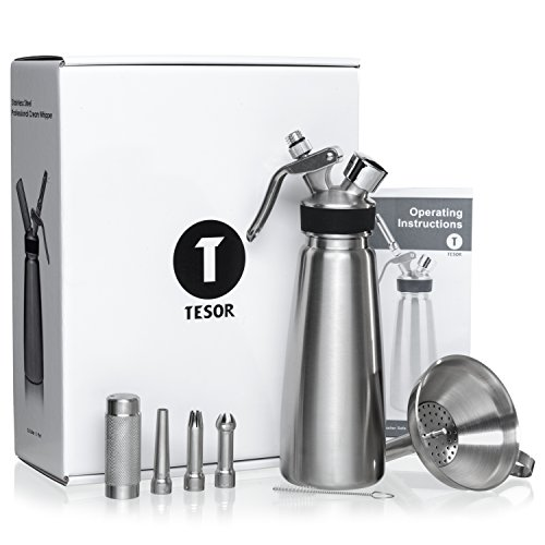 Tesor Stainless Steel Whipped Cream Dispenser Value Bundle With Three Tip Attachment Nozzles, Funnel and Strainer. Professional Quality 1 Pint Whipper Creates 4-5 Pints of Fresh Whip Cream