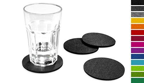 FILU Filzuntersetzer rund 8er Pack (Farbe wählbar) dunkelgrau - Untersetzer aus Filz für Tisch und Bar als Glasuntersetzer / Getränkeuntersetzer für Glas und Gläser ? grau