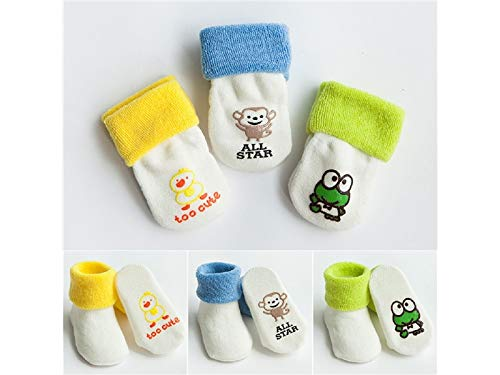 Terry Frog - YOIOY Anti-Slip Toddler Socks 3 Pairs Children Cotton Socks Kids Cartoon Frog Cotton Terry Mid Tube Socks (Multicolor)