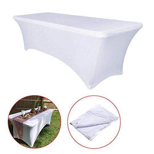 Banquet Cloths (BTSKY 6FT Rectangular Stretch Tablecloth -- Spandex Table Cover for 6 Foot Tables Wedding, Banquet, Party, DJ, Tradeshows, Vendors Decoration, White)