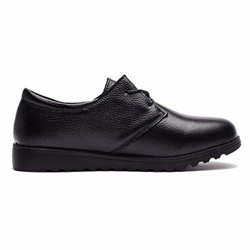 Véritable Chaussures en Derbies Cuir Moonwalker Femme à Noir Lacets Confort v6FqxF
