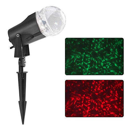 BIENNA Projector Lights, LED Magical Kaleidoscope Waterproof Spotlight Flame Motion Projection Lighting for Outdoor Bedroom Indoor Patio House Christmas Xmas Holiday Thanksgiving Party (Red & Green) -