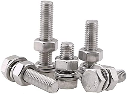 Length : 90mm, Size : M10 YJZG 304 Stainless Steel Hexagon Bolt Screw and nut Set Large Full Extension Screw m8 m10 5Pcs
