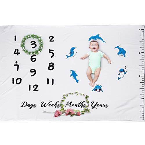 Mucjun Milestone Blanket for Baby Dolphin Patterned Photography Background Prop: Growing Infants & Toddlers | Reusable Throw for Newborn Boy & Girl, 40"|500|500|?|0018a767c9afcd1490cea978e9975cf0|False|UNLIKELY|0.3239956498146057