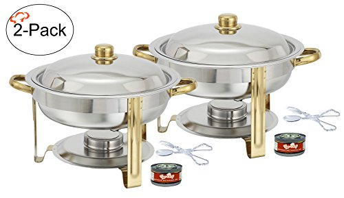 Quart Round Chafing Dish Buffet Warmer Set, Gold Accented Chafer, Includes Free Chafing Fuel Gel and Plastic Serving Tongs (Gold Accented Chafer)