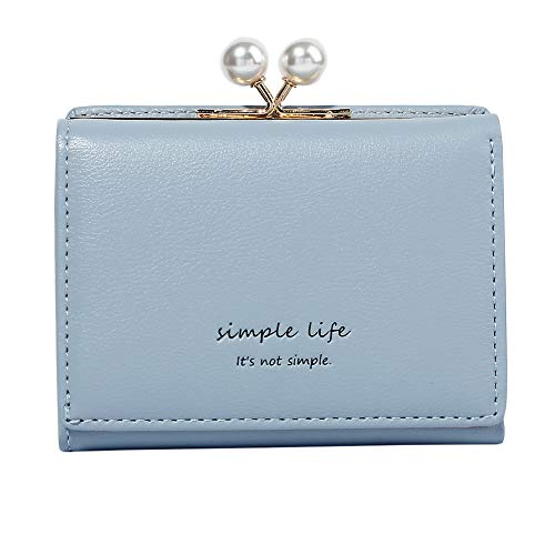 (Women's Small Clutch Wallet Cute Mini Synthetic Leather Card Holder Case Compact Bifold Coin Purse (Blue Bead, Small))