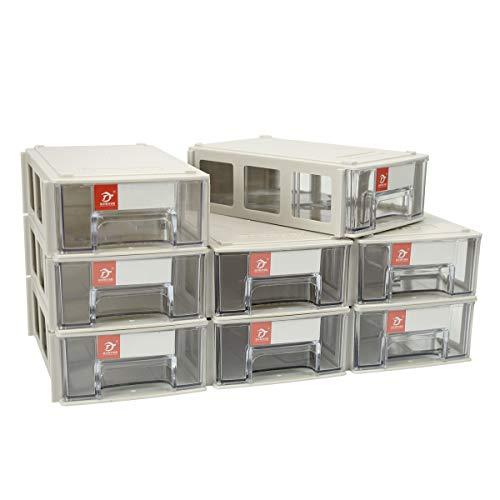 Pack of 8 Plastic Desktop Stacking Interlocking Drawer Storage Cabinet Parts Box, 5.5×3.5×1.6inch