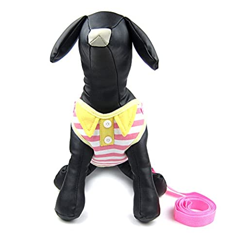 Alfie Pet by Petoga Couture - Eden Step-in Harness and Leash Set - Color: Pink Stripe, Size: Large (Eden Harness)