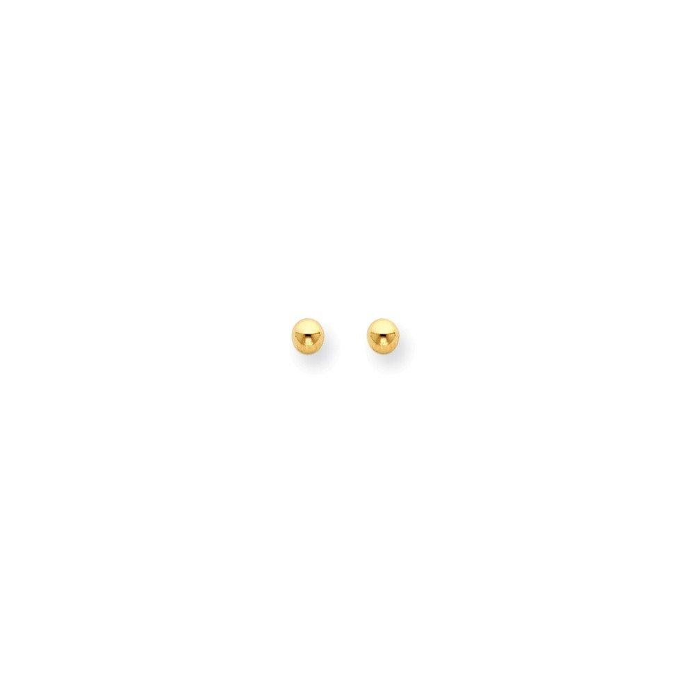 14k Yellow Gold 4mm Ball/Long Post Earrings