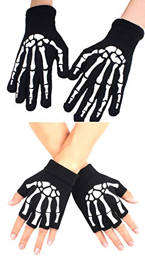 LOLBUY Unisex Skeleton Knit Gloves Full Fingered Gloves Black Durable Hand Warmer Fingerless Gloves Halloween Accessories -