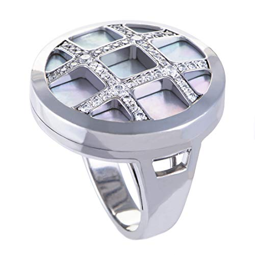 Luxury Bazaar Cartier Pasha Womens 18K White Gold Diamond and Mother of Pearl Cocktail Ring