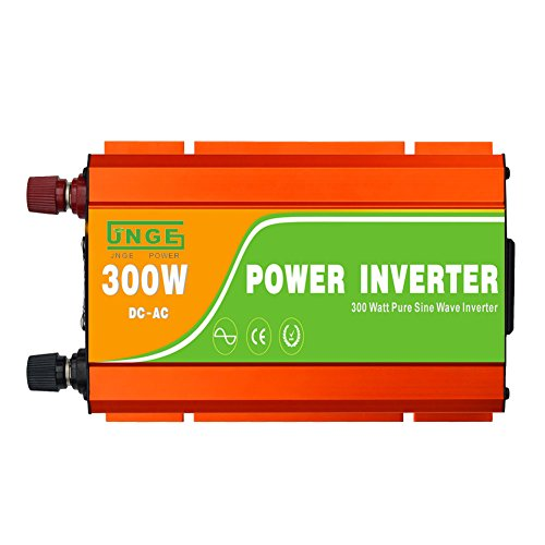 JNGE POWER 300W DC to AC Pure Sine Wave Solar Power Inverter with 5V USB and 120V AC output outlets (12V) by JNGE