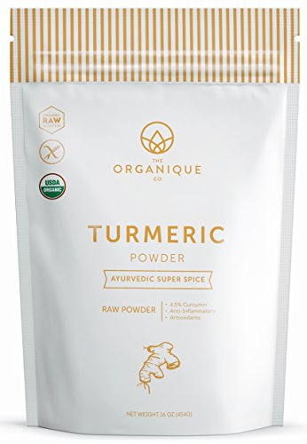 The Organique Co. Turmeric Root Powder with 4.5-5% Curcumin – 16 Ounce, Resealable Bag – Certified Organic, 100% Pure, Raw, Non-GMO Supplement – DIY Face Scrub, Mask, and Wash – Sustainably So