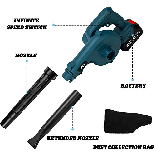 APLMAN Cordless Leaf Blower with 21V Lithium Battery & Charger Electric Handheld Vacuum / Sweeper 2-in-1 Designed Lightweight for Sweeping Snow Light Indoor Work and Surface Dust Cleaning